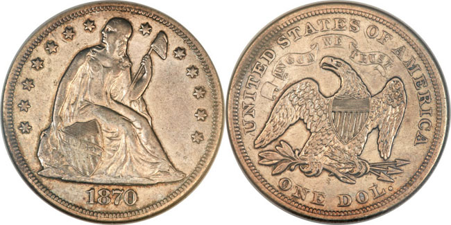 1870-S Liberty Seated Dollar