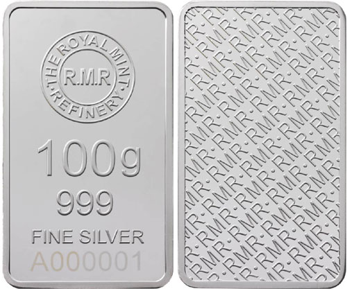 Royal Mint Refinery 100 Gram Silver Bar