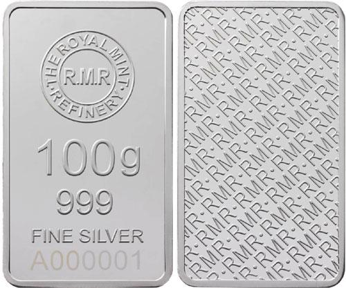 Royal Mint Refinery 100 Gram Silver Bar