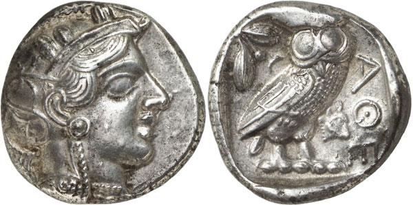 Lot 120: ATHENS (Attica). Tetradrachm, c. 400-380. Extremely rare. Extremely fine. Estimate: 2,500,- euros