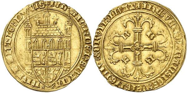 Lot 1429: BELGIUM / BRABANT. Joan, 1383-1406. Tourelle d'or n. d., Louvain. Extremely rare. Very fine. Estimate: 15,000,- euros