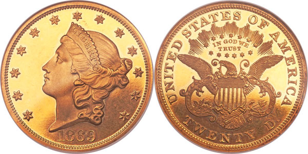 1869 Proof Double Eagle