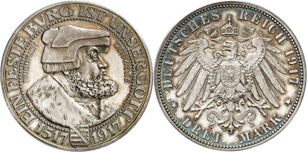 """Lot 2747: GERMANY AFTER 1871 / SAXONY. Frederick August III, 1904-1918. """"Frederick the Wise"""" 3 mark 1917 E. Auction Künker 106 (2005), 5379. Extremely rare. From polished dies. About FDC. Estimate: 60,000,- euros"""