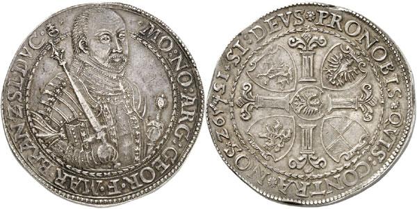 Lot 3230: SILESIA-JÄGERNDORF. Georg Friedrich of Brandenburg-Ansbach, 1543-1603. Reichsdoppelthaler 1592, Jägerndorf. Auction Peus 403 (2011), 2243. Very rare. Extremely fine. Estimate: 5,000,- euros