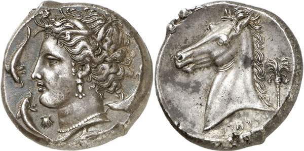 Lot 44: SICULO-PUNIANS (Sicily). Tetradrachm, 320-310. Acquired from Ratto in 1945. Marvelous style! About extremely fine. Estimate: 12,000,- euros