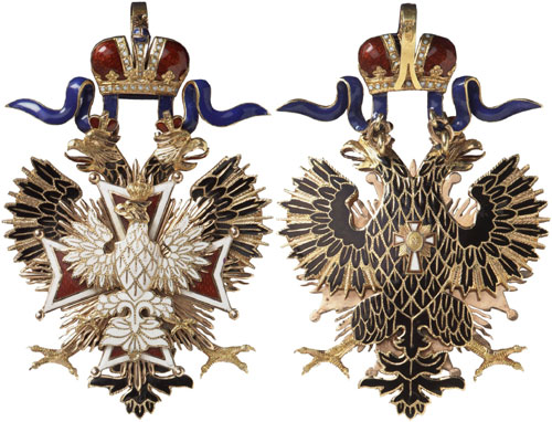 Lot 5261: RUSSIA. Orders and Decorations: Order of the White Eagle. Set of the order's decoration and breast star, not dated (around 1910). I-II. Estimate: 25,000,- euros