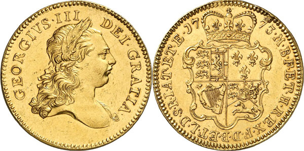 Lot 600: GREAT BRITAIN. George III, 1760-1820. 5 guineas 1773, London. Pattern with plain edge. Extremely rare. Extremely fine. Estimate: 100,000,- euros. Hammer price: 120,000,- euros