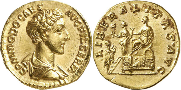 Lot 638: COMMODUS as Caesar, 166-177. Aureus, 172-176. Rev.: LIBERALITAS AVG Liberalitas scene. Brilliant uncirculated. Estimate: 35,000,- euros