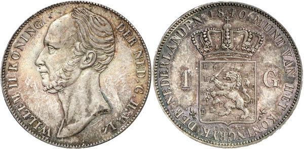 Lot 647: NETHERLANDS – KINGDOM. William II, 1840-1849. 1 gulden 1840, Utrecht. Schulman 518. Ex Horn Collection. Extremely rare. Extremely fine to brilliant uncirculated. Estimate: 30,000,- euros. Hammer price: 120,000,- euros