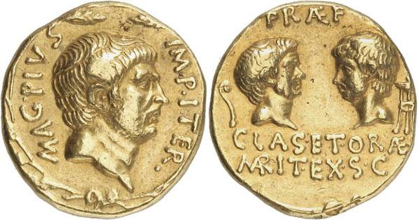Lot 7818: ROMAN REPUBLIC. Sextus Pompeius, + 35. Aureus, 37/6, Sicilian mint. Illustrated in Bahrfeldt, ZfN 28 (1896), pl. X. 231. Very rare. Good very fine. Estimate: 100,000,- euros