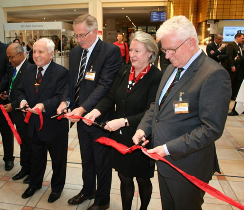 Honourary President Dr. Albert Beck along with CEO of the Royal Australian Mint Ross McDairmid, Managing Director Ms. Barbara Balz and President of the WMF, Hans-Hennig Gohrum officially open this year's Show
