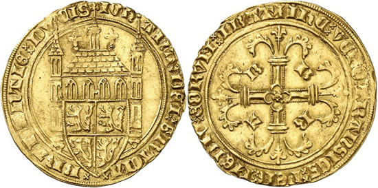 Lot 1429: BELGIUM / BRABANT. Joan, 1383-1406. Tourelle d'or n. y., Louvain. Extremely rare. Very fine. Estimate: 15,000,- euros. Hammer price: 28,000,- euros