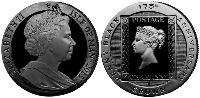 Isle of Man 175th Anniversary Penny Black Coin