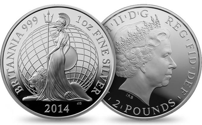 The 2014 Britannia proof design which Jody Clark designed, one of the more popular designs in the new annual series launched in 2013 depicting Britannia in different designs.