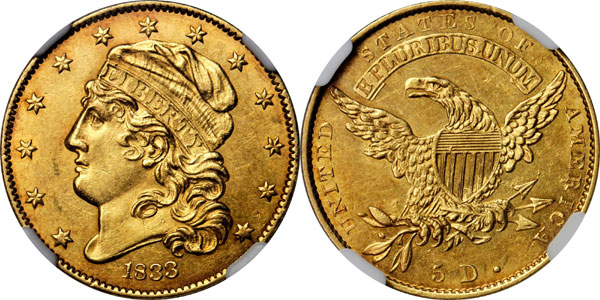 1833 BD-2 $5 gold piece or Half Eagle