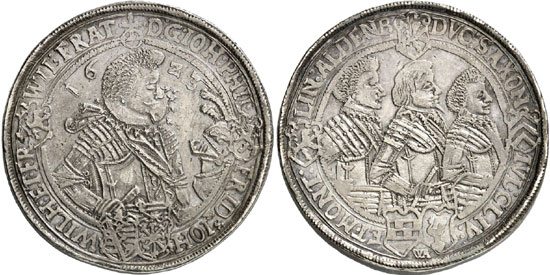 Lot 4461: BRETSCHNEIDER COLLECTION / SAXE-ALTENBURG. John Philip, Frederick, John William and Frederick William II, 1603-1625. Double reichsthaler 1623, Saalfeld. Extremely rare. Very fine to extremely fine. Estimate: 4,000,- euros. Hammer price: 16,000,- euros