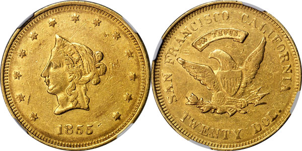 1855 $20 Gold Piece struck by Wass, Molitor & Co