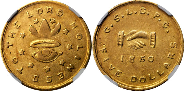 $5 1850 Mormon Territorial Gold Piece