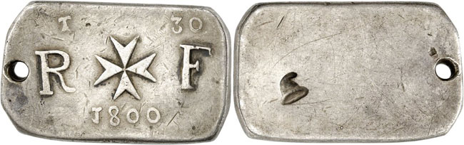 Lot 5794: MALTA. Under French siege, 1798-1800. Silver ingot of 30 tari 1800, Valetta. Ex Restelli Collection, Auction NAC 58 (2011), 431. Extremely rare. Holed, very fine. Estimate: 75,000,- euros. Hammer price: 95,000,- euros