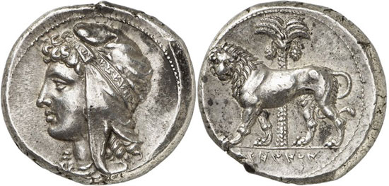 Lot 7079: GREEK COINS. Siculo-Punians (Siciliy). Tetradrachm, 320-310, mobile mint. Very rare. Extremely fine. Estimate: 25,000,- euros. Hammer price: 180,000,- euros