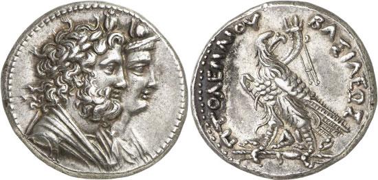 Lot 7348: GREEK COINS. Ptolemy IV, 221-205 (Egypt). Tetradrachm, Alexandria. Very rare. NFA 20 (1988), 824. Extremely fine. Estimate: 10,000,- euros. Hammer price: 48,000,- euros