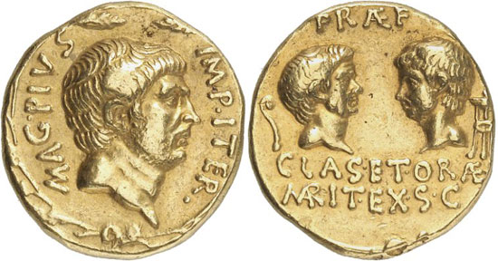 Lot 7818: ROMAN REPUBLIC. Sextus Pompey, + 35. Aureus, 37/6, Sicilian mint. Illustrated in Bahrfeldt, ZfN 28 (1896), pl. X. 231. Very rare. Good very fine. Estimate: 100,000,- euros. Hammer price: 157,500,- euros