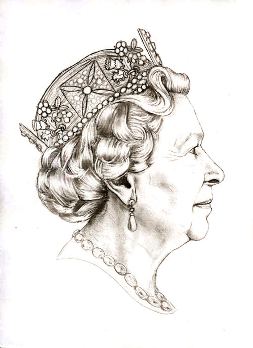 Jody Clark's original sketch submitted to the Royal Mint Advisory Board which ended up as the winning design, note the addition of a necklace in the first proposal.