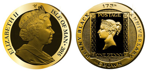 Isle of Man 2015 Penny Black Gold Coin