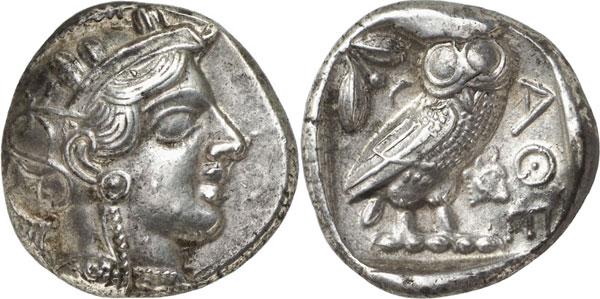 Lot 120: ATHENS (Attica). Tetradrachm, c. 400-380. Extremely rare. Extremely fine. Estimate: 2,500,- euros. Hammer price: 6,500,- euros.