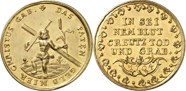 Lot 3229: SILESIA. Gold patenpfennig 1704, unsigned. Extremely fine to brilliant uncirculated. Estimate: 350,- euros. Hammer price: 1,800,- euros.