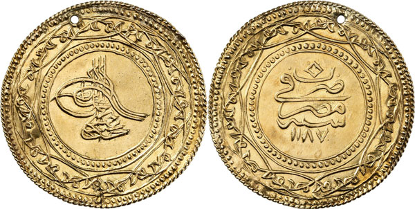 Lot 4285: ISLAM / OTTOMAN EMPIRE. Abd al-Hamid I, 1187-1203 H. (1774-1789). 1 1/2 altin 1187 H. / year 7 (= 1773). Misr Mint. Ziynet coinage following the Istanbul model. Extremey rare. Holed, very fine. Estimate: 1,000,- euros. Hammer price: 10,000,- euros.