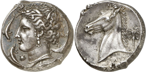 SICULO-PUNIANS (Sicily). Tetradrachm, 320-310. Acquired from Ratto in 1945. Marvelous style! About extremely fine. Estimate: 12,000,- euros. Hammer price: 24,000,- euros.