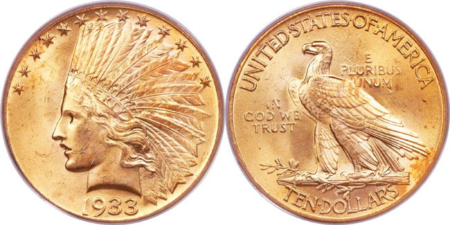 1933 $10 Eagle, graded PCGS MS65, Photo: Heritage Auctions