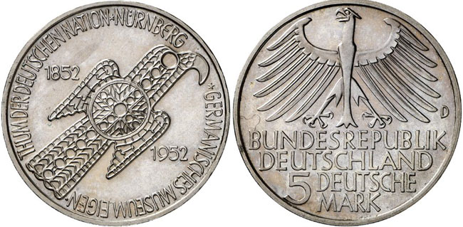 Pattern for the first commemorative coin of the FRG, 'Germanisches Museum'. Auction Künker 264 (June 25, 2015), lot 4469; estimate: 15,000 euros.