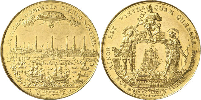 Lot 3685: GERMAN STATES / HAMBURG. Bankportugalöser of 10 ducats 1672. Very rare. Extremely fine to uncirculated. Estimate: 30,000,- euros