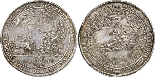 Lot 35: POPKEN COLLECTION. Erfurt. Double reichsthaler 1634 on the death of Gustavus Adolphus. Ex Bruun Collection, Auction Hess 151, Frankfurt am Main, 1914, lot 941. Extremely rare. Very fine. Estimate: 4,000,- euros