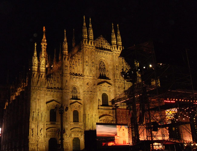 Duomo all lit up for open-air concert
