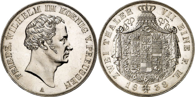Lot 718: GERMAN STATES / BRANDENBURG-PRUSSIA. Frederick William III, 1797-1840. Vereinsdoppelthaler 1838 A. Pattern with large space between head and mint mark on the obverse as well as small crown and altered inscription on the reverse. Extremely rare. Almost uncirculated. Estimate: 20,000,- euros