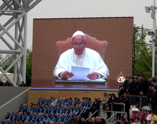 Pope Francis addresses EXPO during opening ceremony.