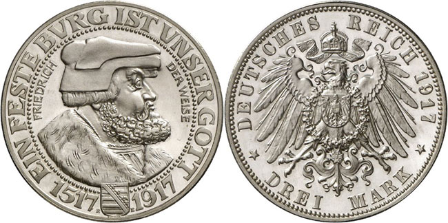 Lot 4134: GERMAN EMPIRE / SAXONY. Frederick August III, 1904-1918. 3 mark 1917 E. J. 141. Proof. Estimate: 75,000,- euros