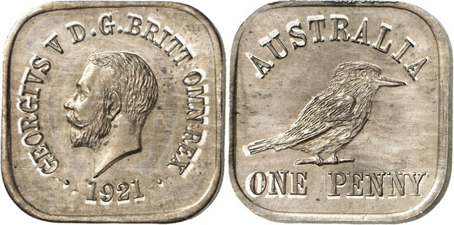 Lot 2133: AUSTRALIA. George V, 1910-1936. Square penny 1921. Pattern in cupro-nickel. Extremely rare. Almost uncirculated. Estimate: 20,000.- euros