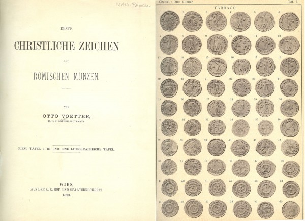 121. Voetter, Otto. Erste christliche Zeichen auf römischen Münzen. Wien 1893. 8vo, recently bound in quarter orange leather, matching linen, brown spine letters; 38 pages, 3 plates, foldout tables of coin inscriptions. Interior Very Good. Estimate: 20.- CHF. A note from BCD: With many pages of thin card stock bound at the end so that additional photographs and text may be glued on. A scarce and nicely bound publication.