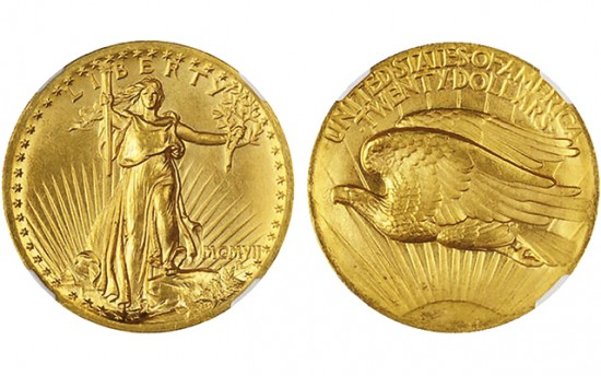 Example: a 1907 Saint-Gaudens Roman Numerals High Relief Double Eagle