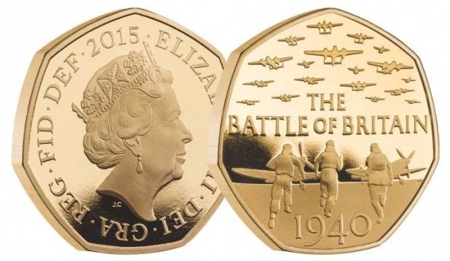 UK 2015 battle of BR. gold 50 pence pair