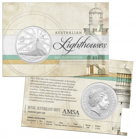 australia 2015 $5 Silver Lighthouse packaging