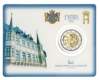 luxembourg 2015 €2 dynasty ind. cardSMALL