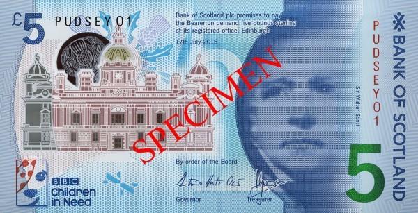 scotland 2015 £5 pudsey a
