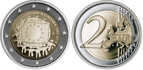 Italy 2015 €2 EURO FLAG aSMallBOTH