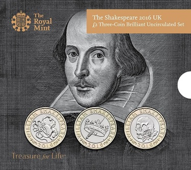 UK 2016 £2 Shakespeare cSmall