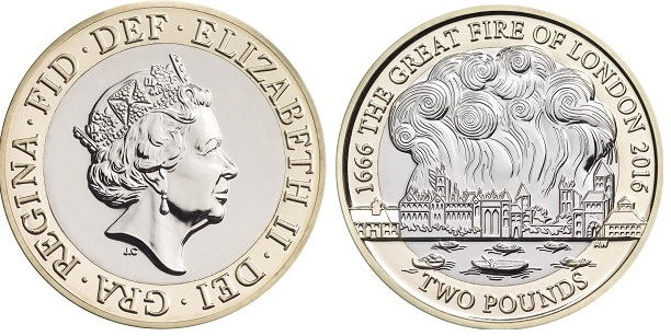 UK 2016 £2 great fire aBOTH